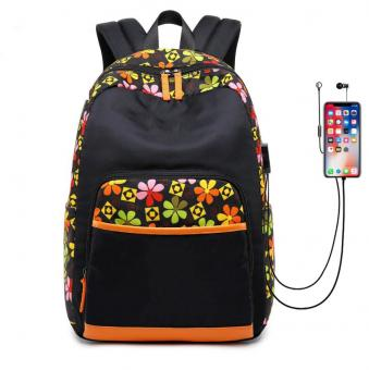 Large Capacity Fashion Backpack Water Resistant Girl Leisure Bag USB Charge Port Girl Daily Travel Backpack Bag -ORSTAR